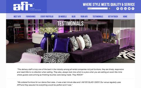 Screenshot of Testimonials Page afrevents.com - Event furniture rental company reviews | AFR Customer Testimonials - captured Oct. 26, 2014