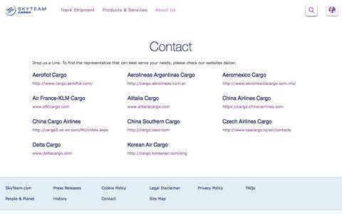 Screenshot of Contact Page skyteam.com - Cargo Contact us - captured Aug. 29, 2016