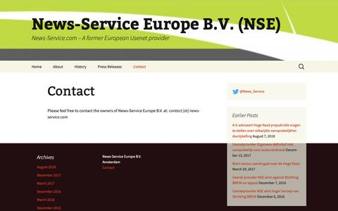 Screenshot of Contact Page news-service.com - Contact - News-Service Europe B.V. (NSE) - captured Oct. 20, 2018