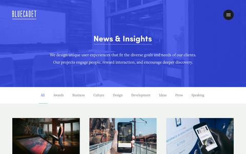Screenshot of Press Page bluecadet.com - News | Bluecadet - captured June 2, 2017