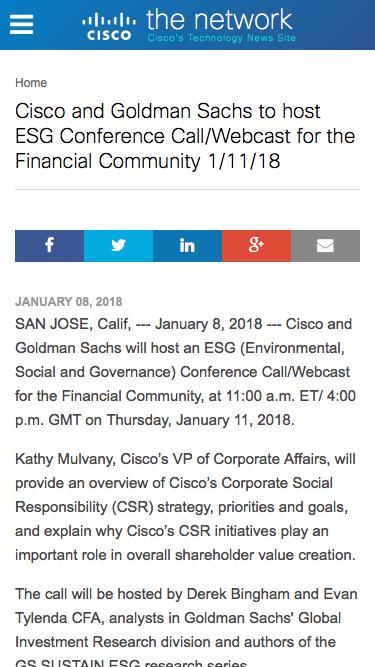 Screenshot of Press Page  cisco.com - Cisco and Goldman Sachs to host ESG Conference Call on 1/11/18 | The Network