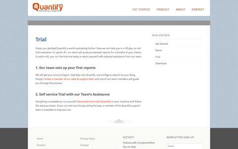 Screenshot of Trial Page quantify.com - Trial  |  Quantify.com - captured Oct. 3, 2014