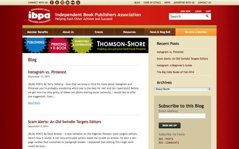 Screenshot of Blog ibpa-online.org - Book Industry News | IBPA - captured Sept. 22, 2014