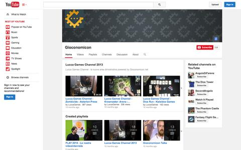 Screenshot of YouTube Page youtube.com - Gioconomicon  - YouTube - captured Oct. 22, 2014