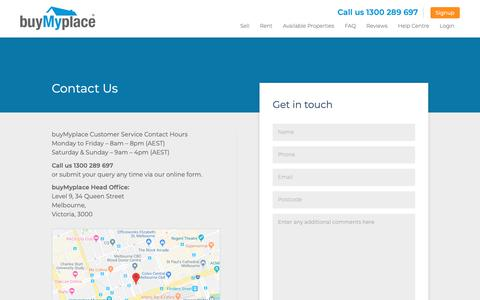 Screenshot of Contact Page buymyplace.com.au - Contact Us - buyMyplace - captured June 9, 2019
