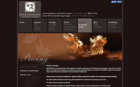 Screenshot of Pricing Page lindengardens.com.au - Linden Gardens - Luxury B&B in the Dandenong Ranges - captured April 12, 2017