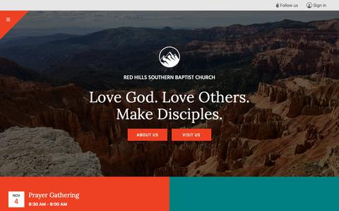 Screenshot of Home Page rhsbc.org - Red Hills Southern Baptist Church - captured Nov. 2, 2018