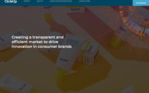 Screenshot of Home Page circleup.com - CircleUp | The machine-learning based platform to provide capital and resources to innovative early     stage consumer brands - captured May 22, 2018