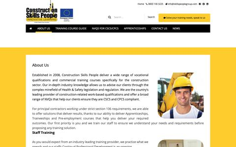 Screenshot of About Page constructionskillspeople.com - About Us - Construction Skills People - captured Sept. 29, 2018