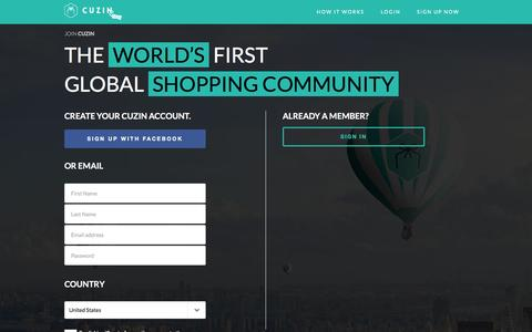 Screenshot of Signup Page cuzin.com - Join the Worlds First Global Shopping Family | CUZIN - Cuzin - captured Dec. 6, 2015