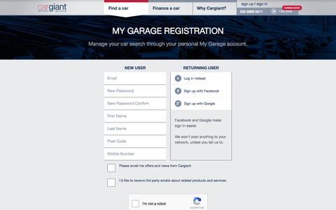 Screenshot of Signup Page cargiant.co.uk - My Garage registration - Cargiant - captured July 11, 2016