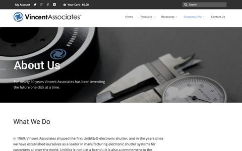 Screenshot of About Page uniblitz.com - About Vincent Associates - Uniblitz Shutter Systems - captured Oct. 25, 2017