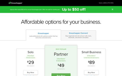 Screenshot of Pricing Page grasshopper.com - Grasshopper Plans and Pricing | Phone System and Unified Inbox - captured Sept. 25, 2019