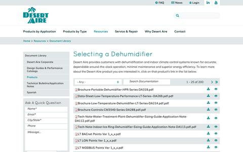 Screenshot of Products Page desert-aire.com - Selecting a Dehumidifier   Desert Aire Dehumidifying Equipment - captured Oct. 12, 2017