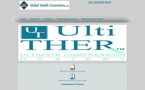 Screenshot of Products Page globalhealthconnectioninc.com - compression socks, Global Health Connection, Inc Products - captured Sept. 30, 2014