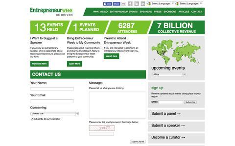 Screenshot of Contact Page entrepreneurweek.net - Contact - Entrepreneur Week - captured Oct. 26, 2014