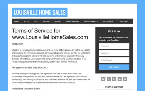 Screenshot of Terms Page louisvillehomesales.com - Terms Of Service Page For Louisville Home Sales Website - captured Oct. 6, 2014