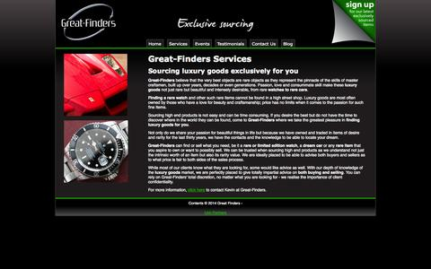 Screenshot of Services Page great-finders.co.uk - Great-finders, Finding Luxury Watches and Cars. - captured Oct. 3, 2014