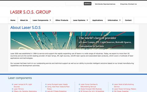Screenshot of About Page lasersos.com - About Laser S.O.S | Welcome Laser SOS USA | Laser Rods, Laser Filters, Laser Mirrors - captured Oct. 2, 2016