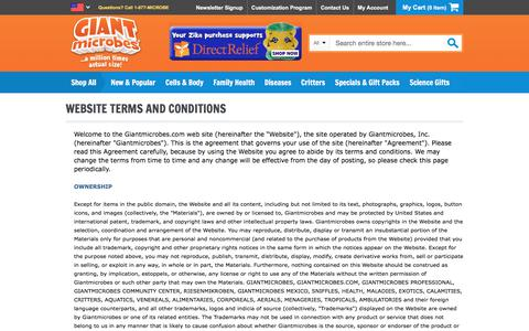 Screenshot of Terms Page giantmicrobes.com - GIANT microbes | Website Terms and Conditions - captured Aug. 2, 2017