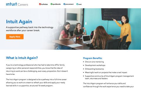 Screenshot of Jobs Page intuit.com - Return to work program   Intuit Careers - captured Nov. 21, 2019