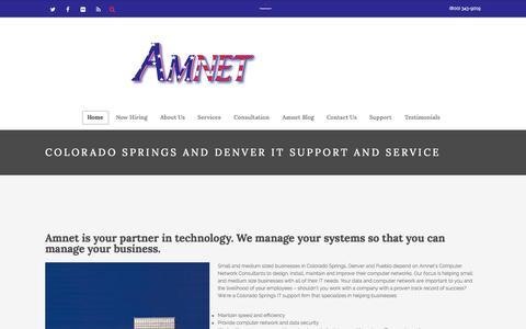 Screenshot of Home Page amnet.net - AMNET IT  |  Front Range Colorado IT Professionals - captured Aug. 3, 2015