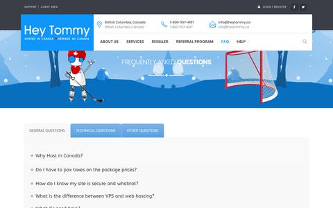 Screenshot of FAQ Page heytommy.ca - Frequently Asked Questions – Hey Tommy Hosting - captured Sept. 28, 2018