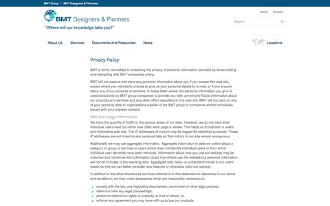 Screenshot of Privacy Page dandp.com - BMT Designers & Planners | Provider of technical and management expertise - captured Oct. 4, 2014
