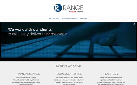Screenshot of Home Page rangedelivers.com - Home - Range, a Deluxe Company - captured Nov. 29, 2016
