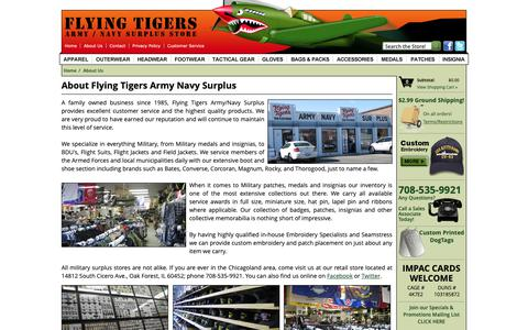 Screenshot of About Page flyingtigerssurplus.com - About Flying Tigers Surplus - captured Oct. 10, 2018