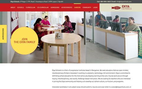 Screenshot of Jobs Page ekyaschools.com - Careers   Join the Ekya Family - captured July 17, 2018