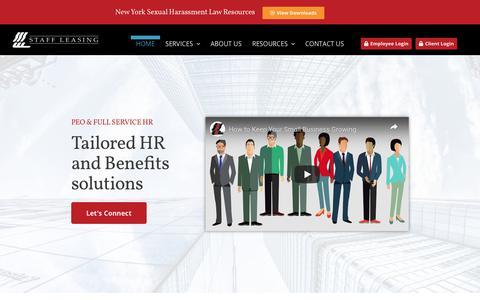 Screenshot of Home Page staffleasing-peo.com - Home - Staff Leasing - captured July 27, 2019