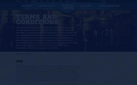Screenshot of Terms Page samueladams.com - Samuel Adams® - Terms & Conditions - America's Craft Beer Since 1984 - captured Sept. 25, 2014