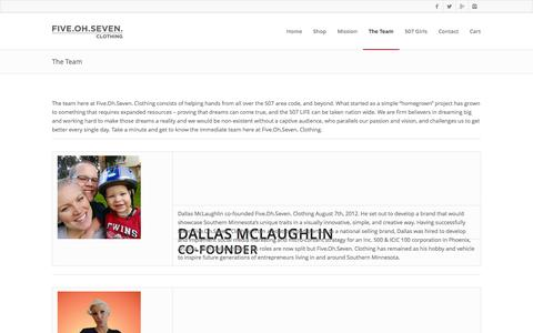 Screenshot of Team Page fiveohseven.com - The Team | Five. Oh. Seven. Clothing - captured Oct. 6, 2014