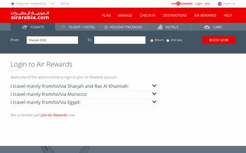 Screenshot of Login Page airarabia.com - Login to Air Rewards | Air Arabia - captured Oct. 3, 2018