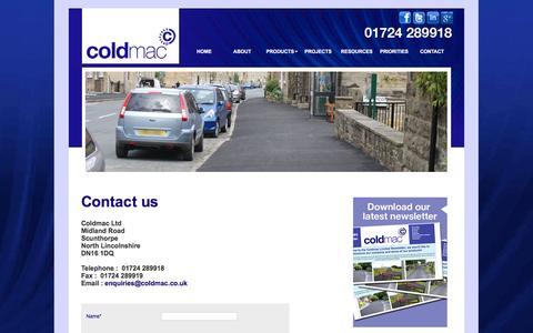 Screenshot of Contact Page coldmac.co.uk - Coldmac -Contact us - captured Nov. 8, 2016