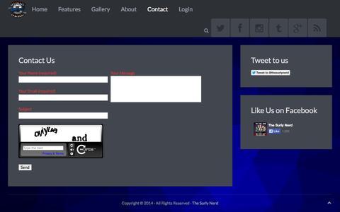 Screenshot of Contact Page thesurlynerd.com - The Surly Nerd - captured Oct. 9, 2014