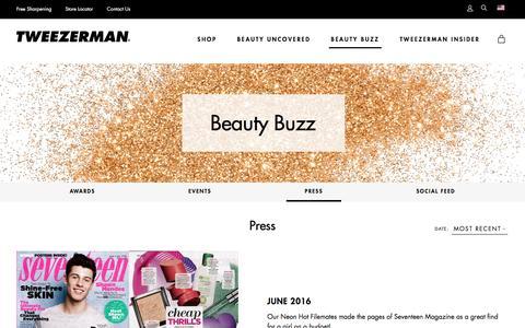 Screenshot of Press Page tweezerman.com - Press - captured Dec. 5, 2016