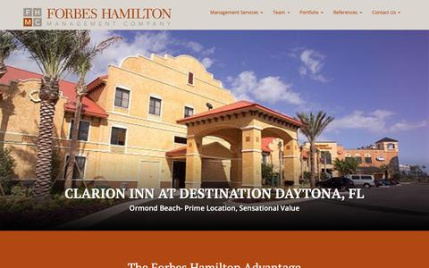 Screenshot of Home Page fhhotels.com - Hospitality Manangement Companies | Forbes Hamilton Management Company - captured Oct. 10, 2018