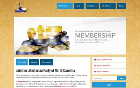 Screenshot of Signup Page lpnc.org - Join the Libertarian Party of North Carolina - captured Oct. 2, 2014