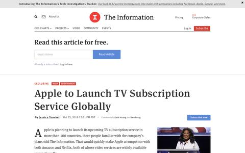 Screenshot of Team Page theinformation.com - Apple to Launch TV Subscription Service Globally  — The Information - captured Feb. 28, 2019