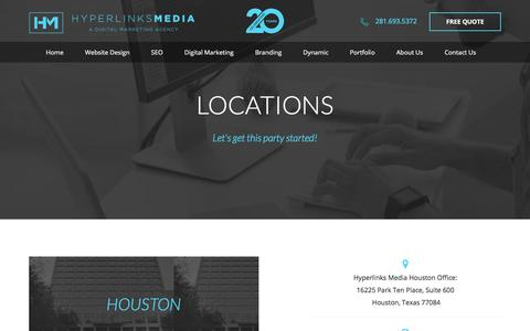 Screenshot of Locations Page hyperlinksmedia.com - Houston web design Firm | Top website design agency in Houston - captured Sept. 23, 2018
