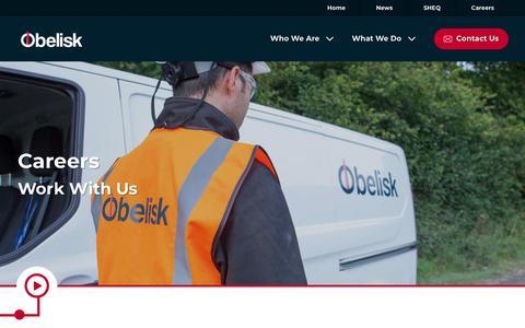 Screenshot of Jobs Page obelisk.com - Work With Us | Obelisk - captured Oct. 19, 2018