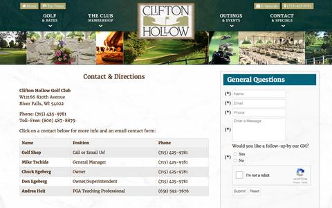 Screenshot of Contact Page Maps & Directions Page cliftonhollow.com - Clifton Hollow Golf Club | River Falls, WI | Public Course - Contact & Directions - captured April 29, 2017