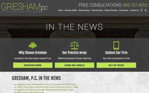 Screenshot of Press Page greshampc.com - News   Dallas Personal Injury Attorney   Dallas Injury Attorney - captured Dec. 6, 2015