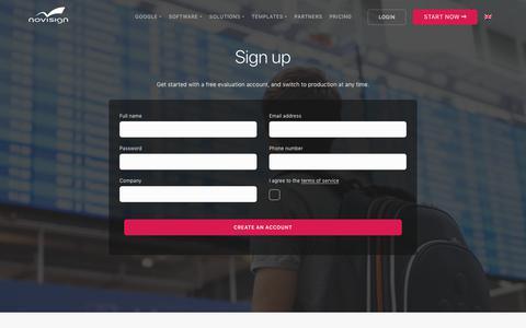 Screenshot of Signup Page Trial Page novisign.com - Join NoviSign Digital Signage - captured July 25, 2019