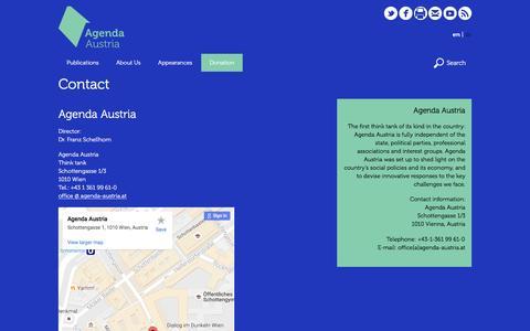 Screenshot of Contact Page agenda-austria.at - Contact | Agenda Austria - captured Nov. 20, 2016