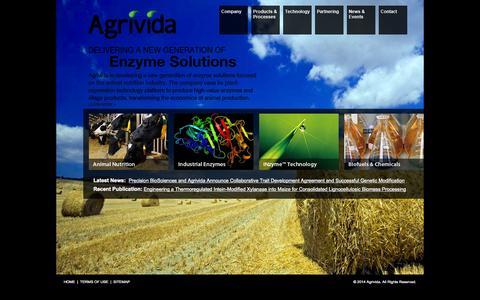 Screenshot of Home Page agrivida.com - Agrivida :: Welcome - captured Sept. 12, 2014