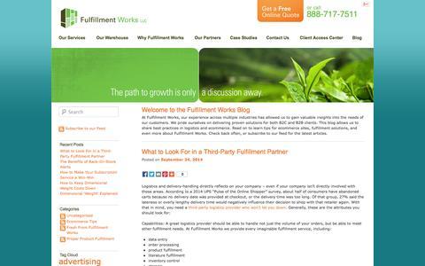 Screenshot of Blog fulfillmentworks.com - Fulfillment Works Blog - captured Sept. 24, 2014