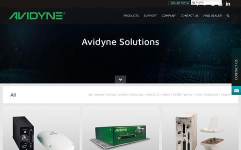 Screenshot of Products Page avidyne.com - Products - Avidyne - captured Aug. 22, 2019